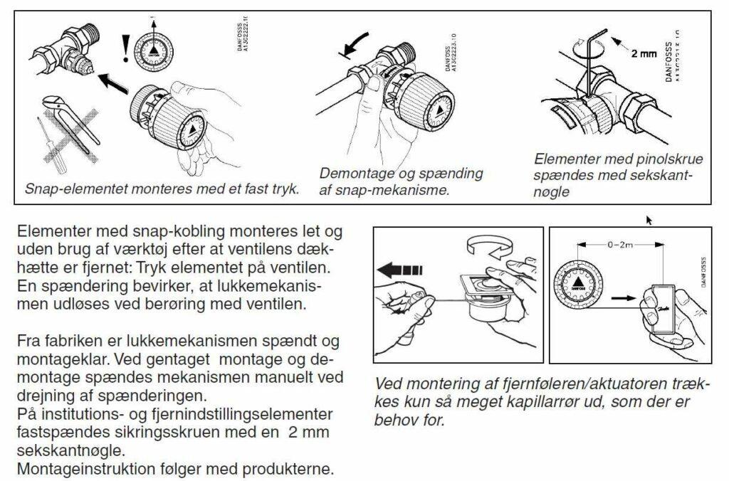 montering af termostat på radiatorventil